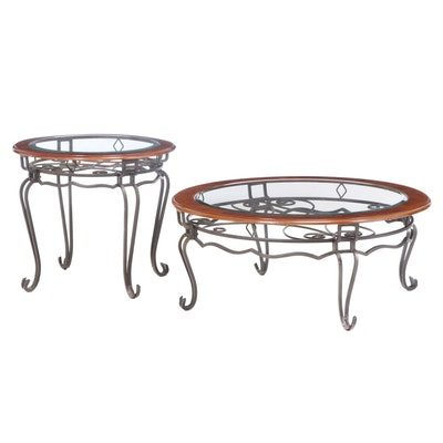 Scrolled Iron, Cherrywood, and Beveled Glass Coffee Table and Side Table