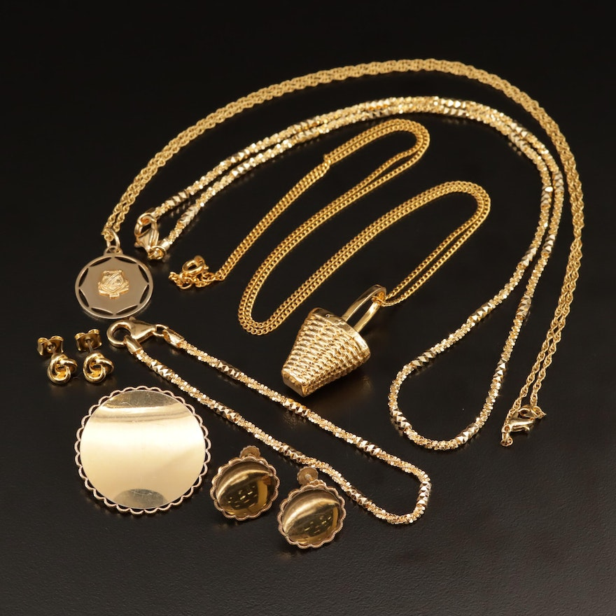 Assorted Jewelry Featuring Vintage Krementz Brooch and Earring Set