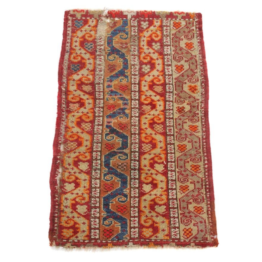 1'8 x 2'10 Hand-Knotted Turkish Caucasian Rug, 1900s