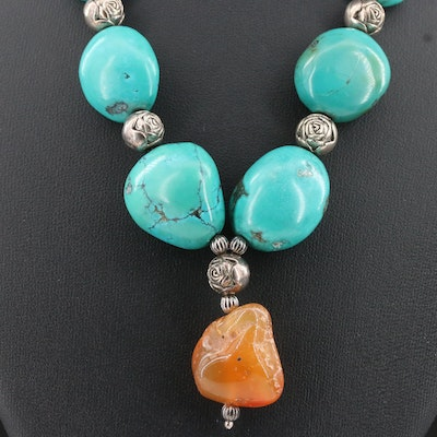 Howlite and Agate Necklace with Sterling Silver Charm and Clasp