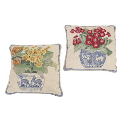 1'1 x 1'1 Hand Embroidered French Pictorial Tapestry Pillows, 2000s