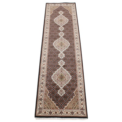 2'9 x 10' Hand-Knotted Indo-Persian Tabriz Silk Blend Carpet Runner, 2010s