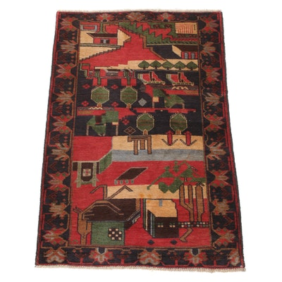 2'10 x 4'6 Hand-Knotted Afghani Balouch Pictorial Rug, 2000s