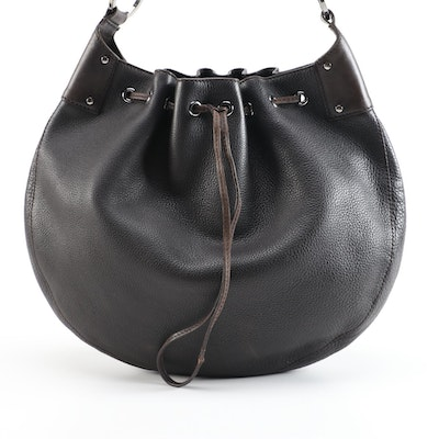 Gucci Dark Brown Grained Leather Drawstring Hobo Bag