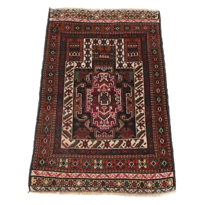 2'10 x 4'6 Hand-Knotted Persian Balouch Rug, 1990s