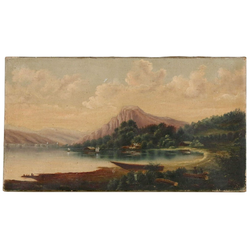 Lakeside Oil Painting with Mountains, Early-Mid 20th Century