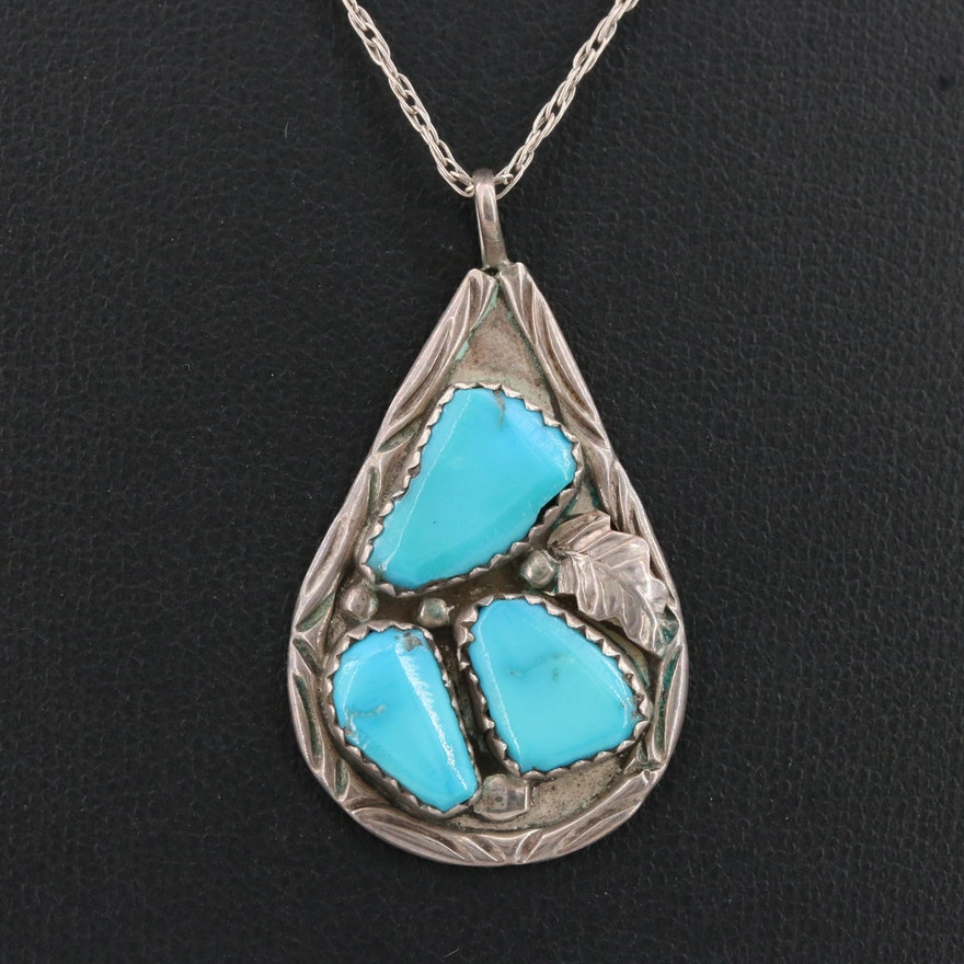 F Cheama Zuni Sterling Turquoise Necklace with Applique