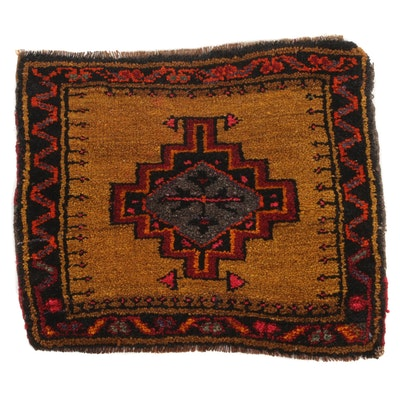 1'5 x 1'8 Hand-Knotted Turkish Village Rug, 1960s