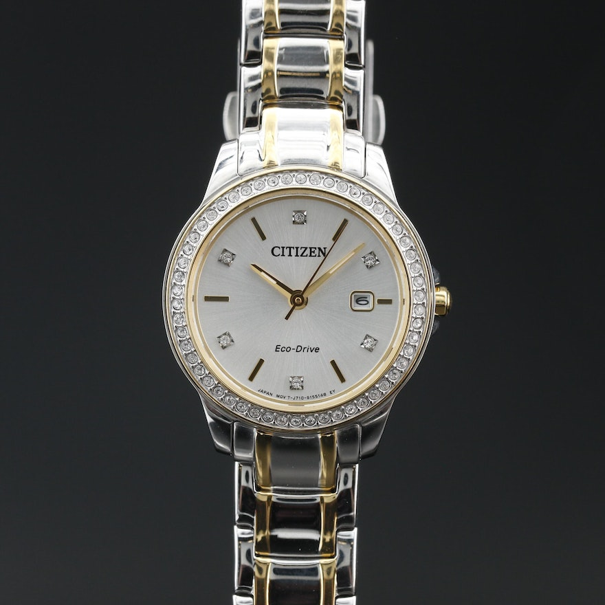 Citizen Eco-Drive Dress Collection Two Tone Crystal Wristwatch