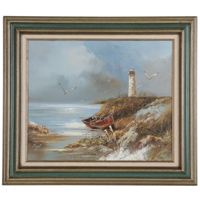 Landscape Oil Painting of Coastal Scene with Lighthouse