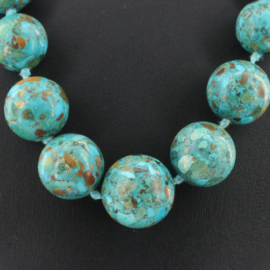 Sterling Silver Graduated Turquoise Necklace