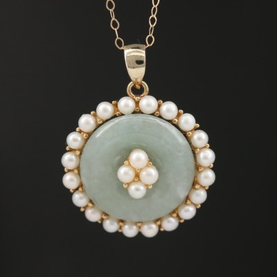 14K Jadeite and Pearl Bi Pendant Necklace