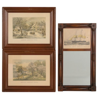 Currier & Ives Offset Lithographs and Trumeau Mirror, 20th Century
