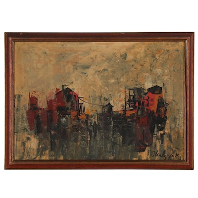 Shaul Ohaly Abstract Urban Landscape Oil Painting,  Late 20th Century