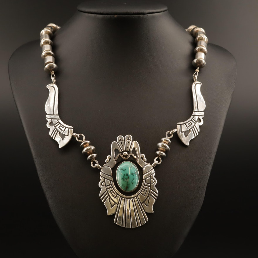 Thomas Singer Navajo Sterling Silver Turquoise Necklace