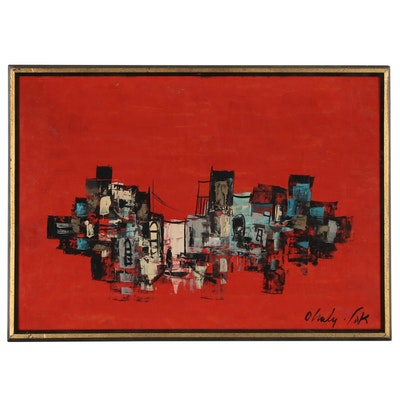 Saul Ohaly Urban Landscape Oil Painting,  Late 20th Century