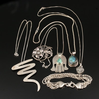 Sterling Silver Jewelry Assortment Featuring Turquoise and Labradorite