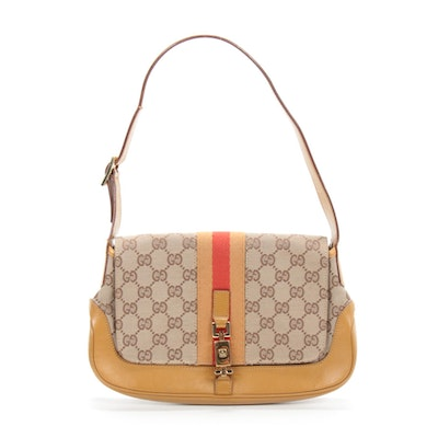 Gucci Mini Jackie O Flap Shoulder Bag in GG Monogram Canvas and Leather