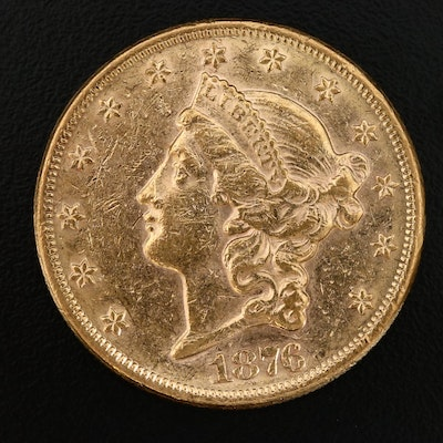 1876 Liberty Head $20 Gold Double Eagle Coin