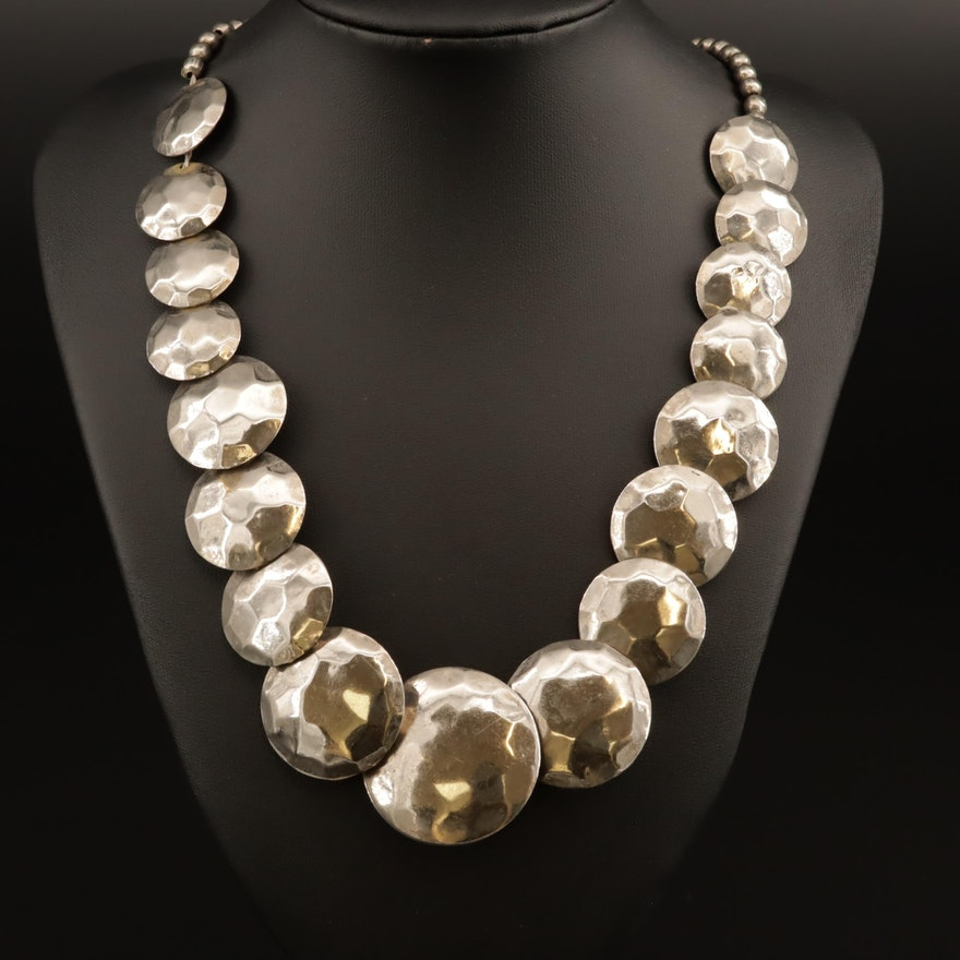 Graduated Textured Disc Beaded Necklace