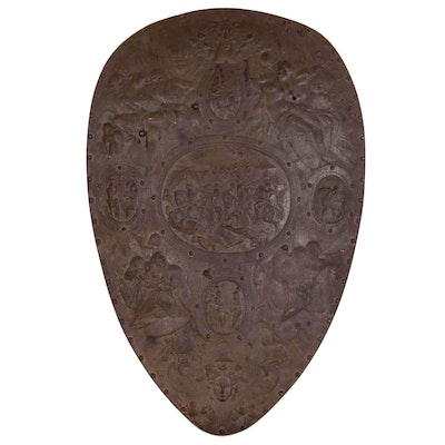 German Cast Iron Renaissance Style Shield, Circa 1900