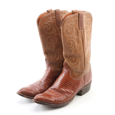 Women's Lucchese of San Antonio Leather and Lizard Skin Boots