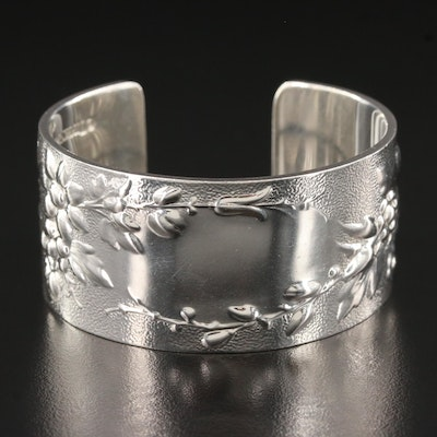 "Tiffany & Co. ""Makers"" Sterling Silver Floral ID Cuff"