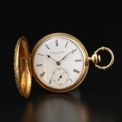Antique F. Jacot-Matile 18K Gold and Enamel Hunting Case Pocket Watch