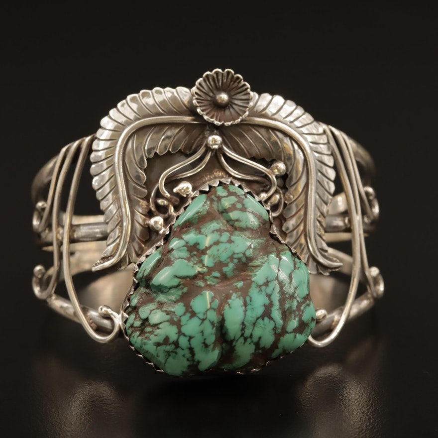 Signed Western Sterling Silver Turquoise Cuff