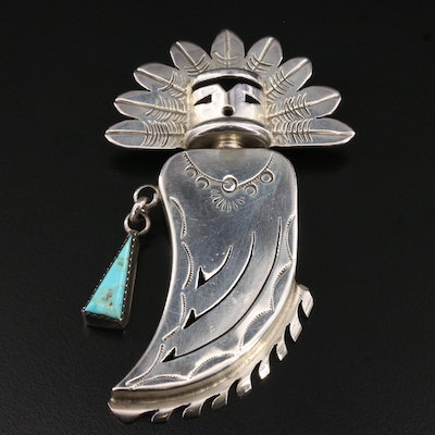 Vintage Southwestern Style Sterling Silver Turquoise and Enamel Kachina Brooch