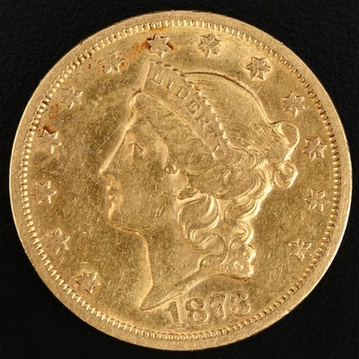 1873-S Liberty Head $20 Gold Double Eagle Coin