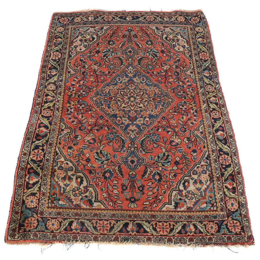 3'5 x 5'2 Hand-Knotted Persian Malayer Wool Rug