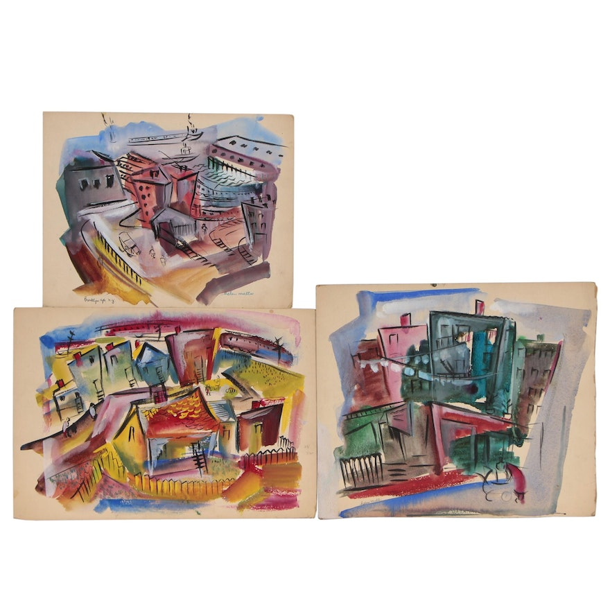 Helen Malta Abstract Cityscape Watercolor Paintings