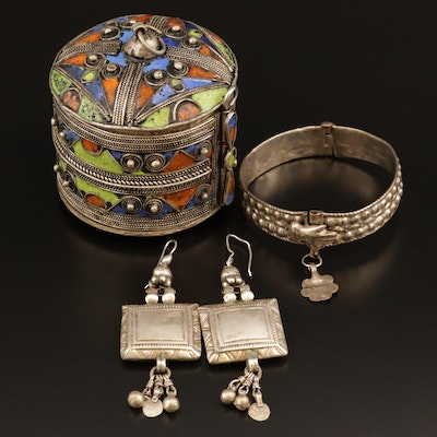 Vintage Tibetan Style Converter Trinket Box with Earrings and Hinged Bangle
