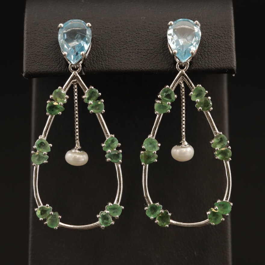 Sterling Silver Emerald, Blue Topaz and Pearl Drop Earrings