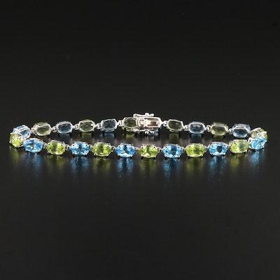 14K Blue Topaz and Peridot Link Bracelet