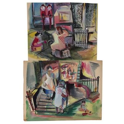 Helen Malta Watercolor Paintings of Genre Scenes with Playing Children