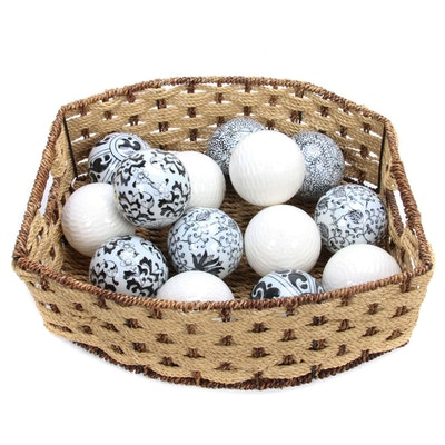 Decorative Ceramic Spheres in Woven Basket