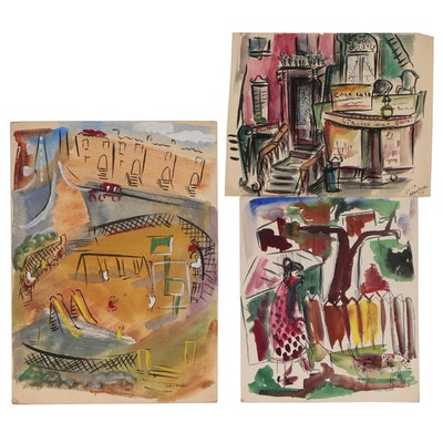 Helen Malta Watercolor Paintings of City and Genre Scenes