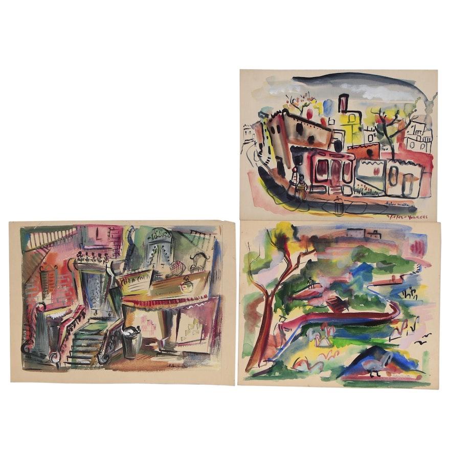 Helen Malta Watercolor Paintings of Street and Park Scenes