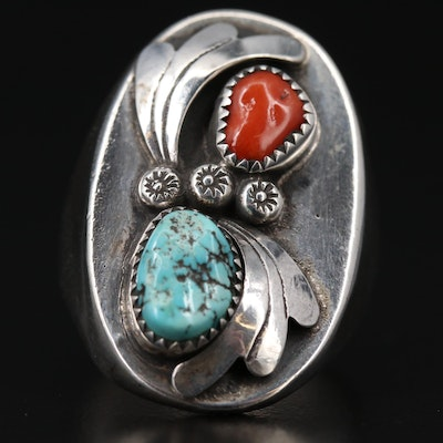 Western Sterling Turquoise and Coral Ring with Applique Work