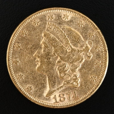 1874 Liberty Head $20 Gold Double Eagle Coin