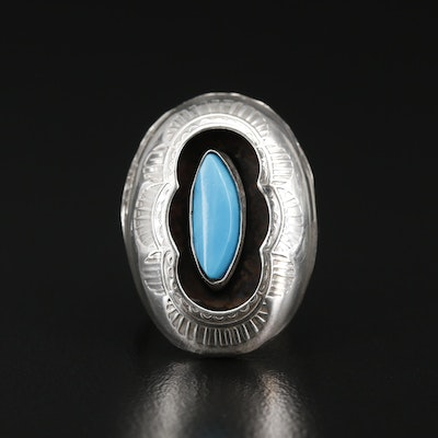 Western Sterling Turquoise Shadow Box Ring