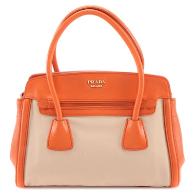 Prada Satchel in Corda Canapa Canvas with Papaya Saffiano Leather Trim