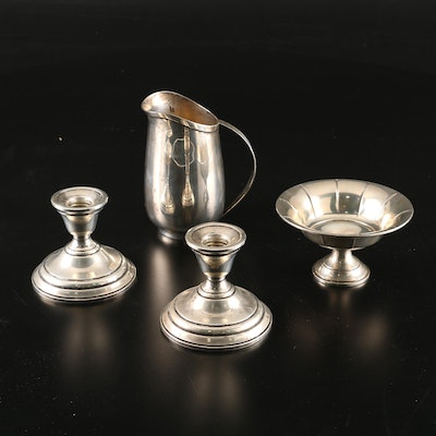 Sterling Silver Pitcher, Weighted Bonbon Bowl and Candlesticks, 20th Century