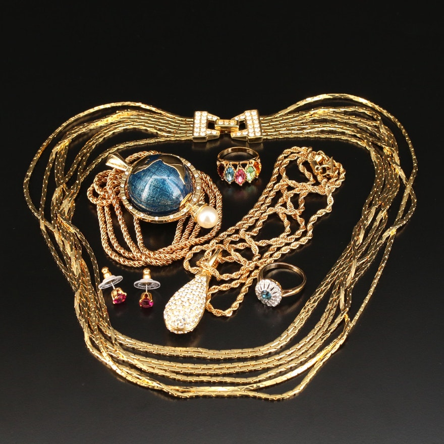 Assorted Jewelry Featuring Kenneth Jay Lane and Swarovski