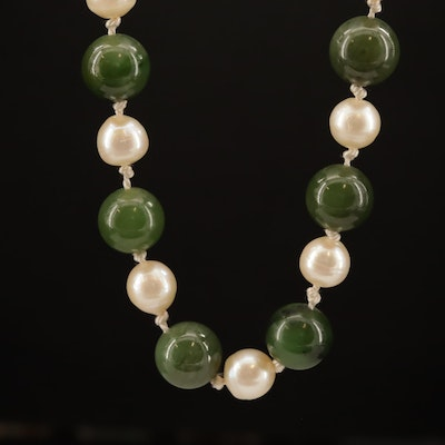 Pearl and Nephrite Necklace with 18K Clasp