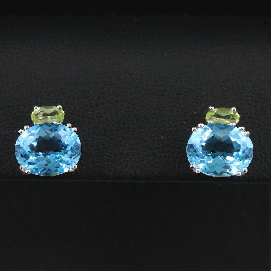 14K Blue Topaz and Peridot Button Earrings