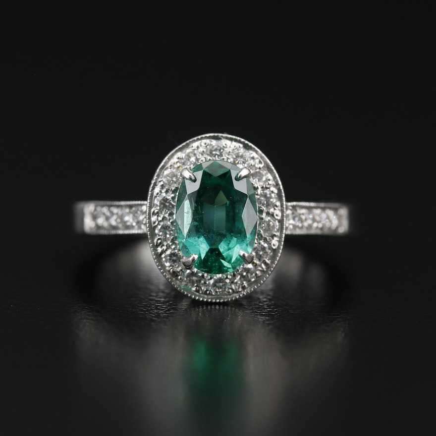 Platinum 1.09 CT Emerald and Diamond Ring