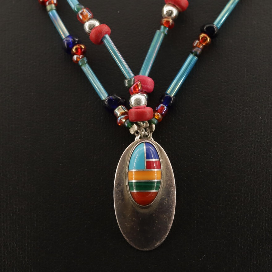 Western Sterling Turquoise, Malachite and Coral Necklace